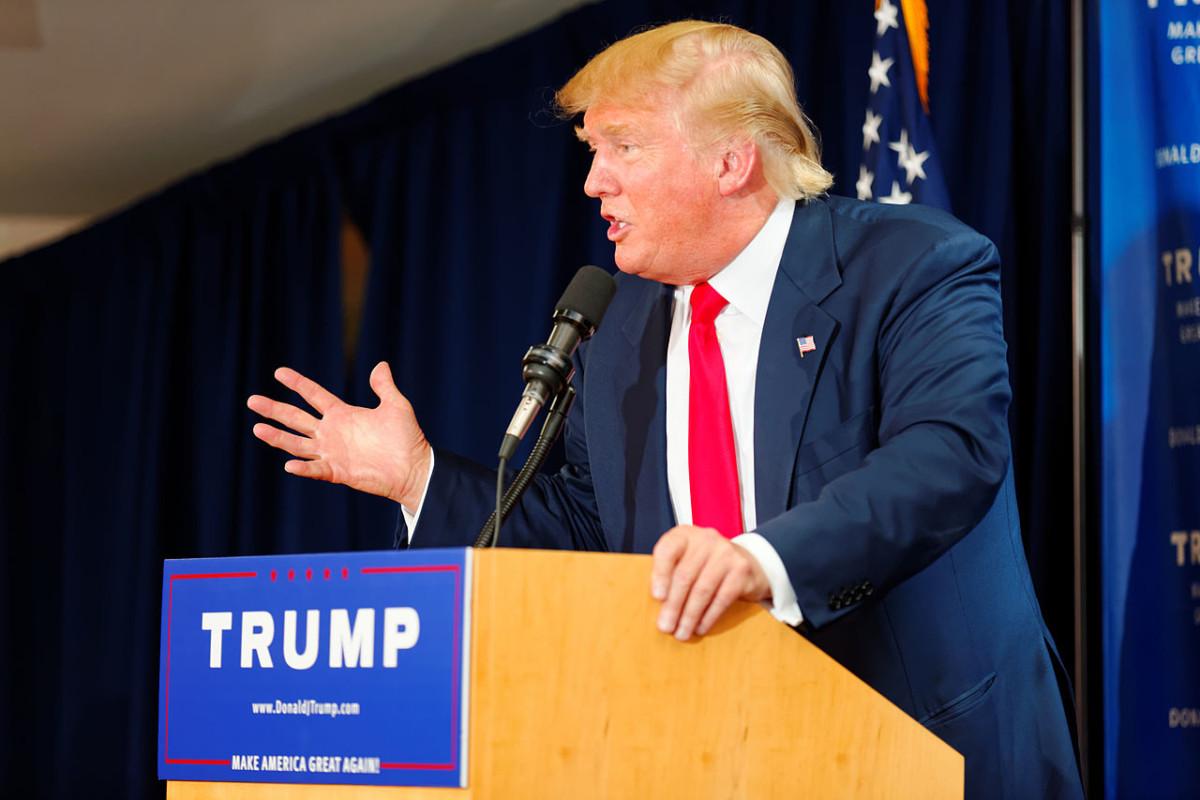 Donald Trump egy 2015-ös kampányeseményen.
