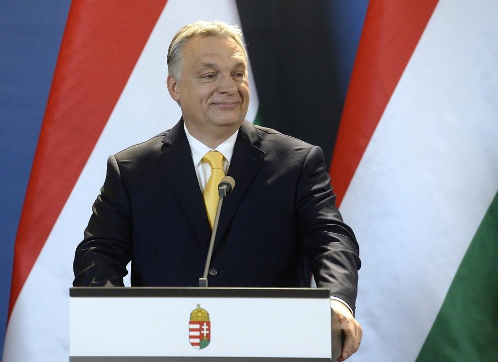 Orbán Viktor miniszterelnök nemzetközi sajtótájékoztatót tart az április 8-i országgyűlési képviselő-választással kapcsolatban az Országházban 2018. április 10-én.