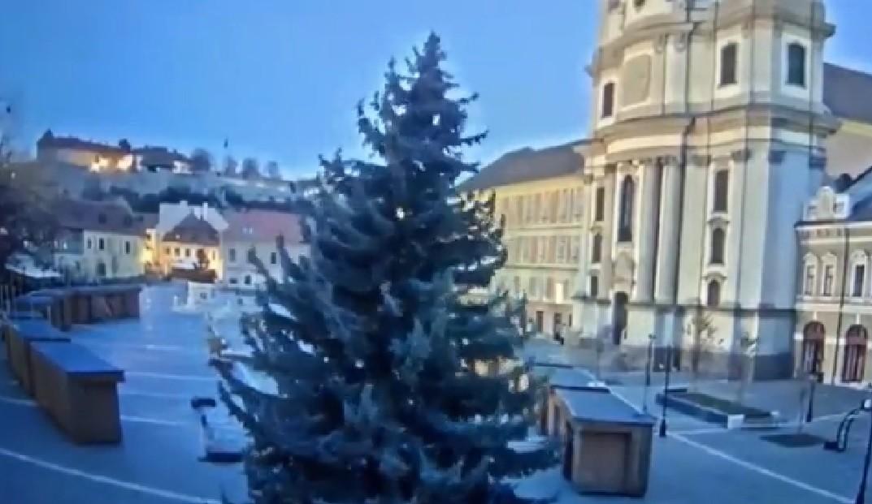 Kinyírta a szélvihar Eger karácsonyfáját – videó