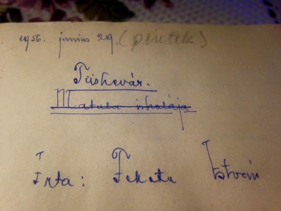 Fekete István: Tüskevár című regénye kéziratának első oldala, amely szerint a műnek eredetileg a Matula iskolája címet szánta.