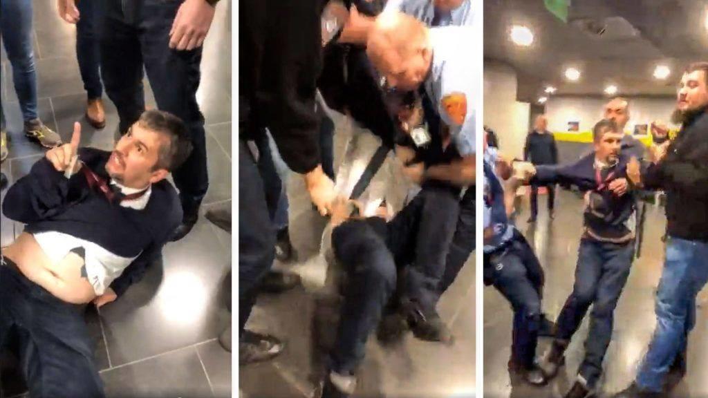 Videón, ahogy kidobják Szél Bernadettet és Hadházy Ákost a közmédia székházából