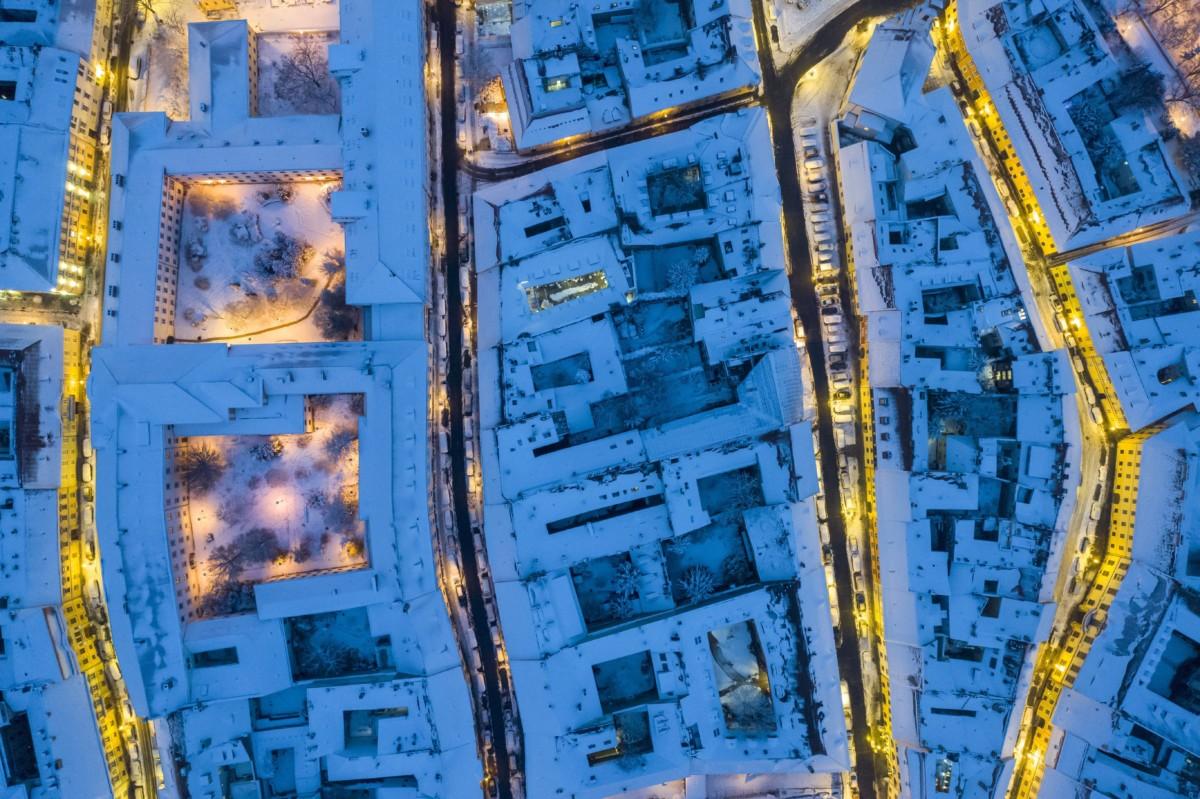 Behavazott házak a budavári Úri, Országház, Fortuna és Táncsics Mihály utcában (b-j) 2018. december 16-án.