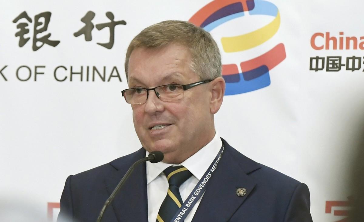 Matolcsy György, a Magyar Nemzeti Bank (MNB) elnöke beszédet mond a 16+1 Jegybankelnöki Találkozón, a Magyar Nemzeti Bank első alkalommal megrendezett tanácskozásán a Bölcs Várban, az egykori budai Óvárosháza felújított épületében a budai Várban 2018. november 9-én.