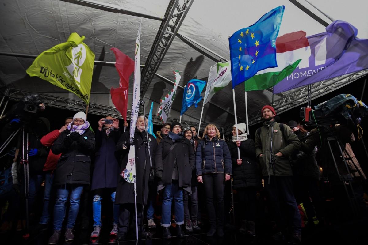 A Kossuth téri kormányellenes tüntetés 2019. január 5-én.