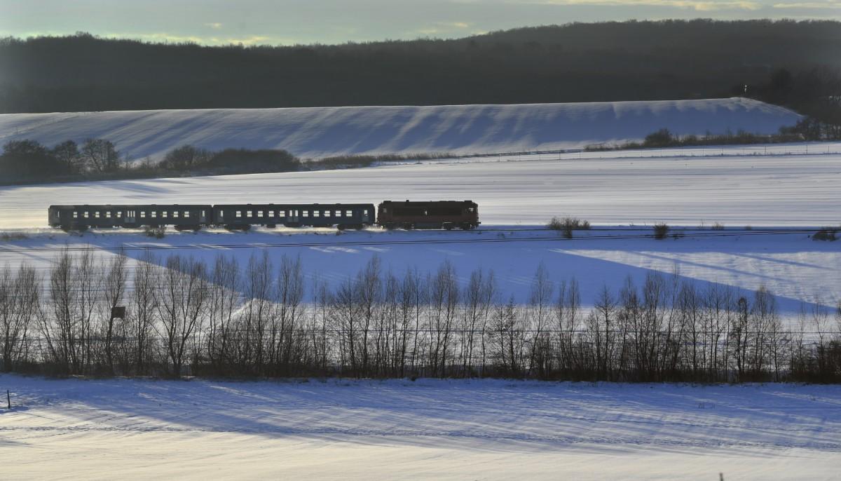 Személyvonat halad Eplényből Zirc felé a behavazott Bakonyban 2019. január 8-án.