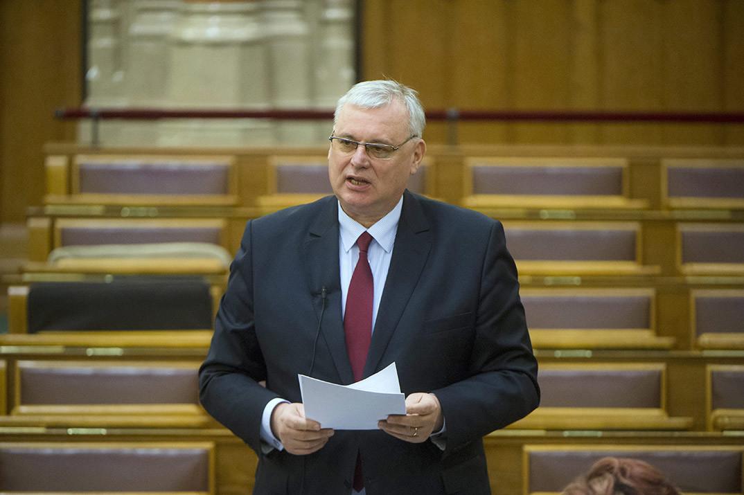 Aradszki András, a Nemzeti Fejlesztési Minisztérium energiaügyért felelős államtitkára expozét tart a Paksi Atomerőmű kapacitásának fenntartásával kapcsolatos beruházásról, valamint az ezzel kapcsolatos egyes törvények módosításáról szóló törvényjavaslat vitájában az országgyűlés plenáris ülésén 2015. február 18-án.