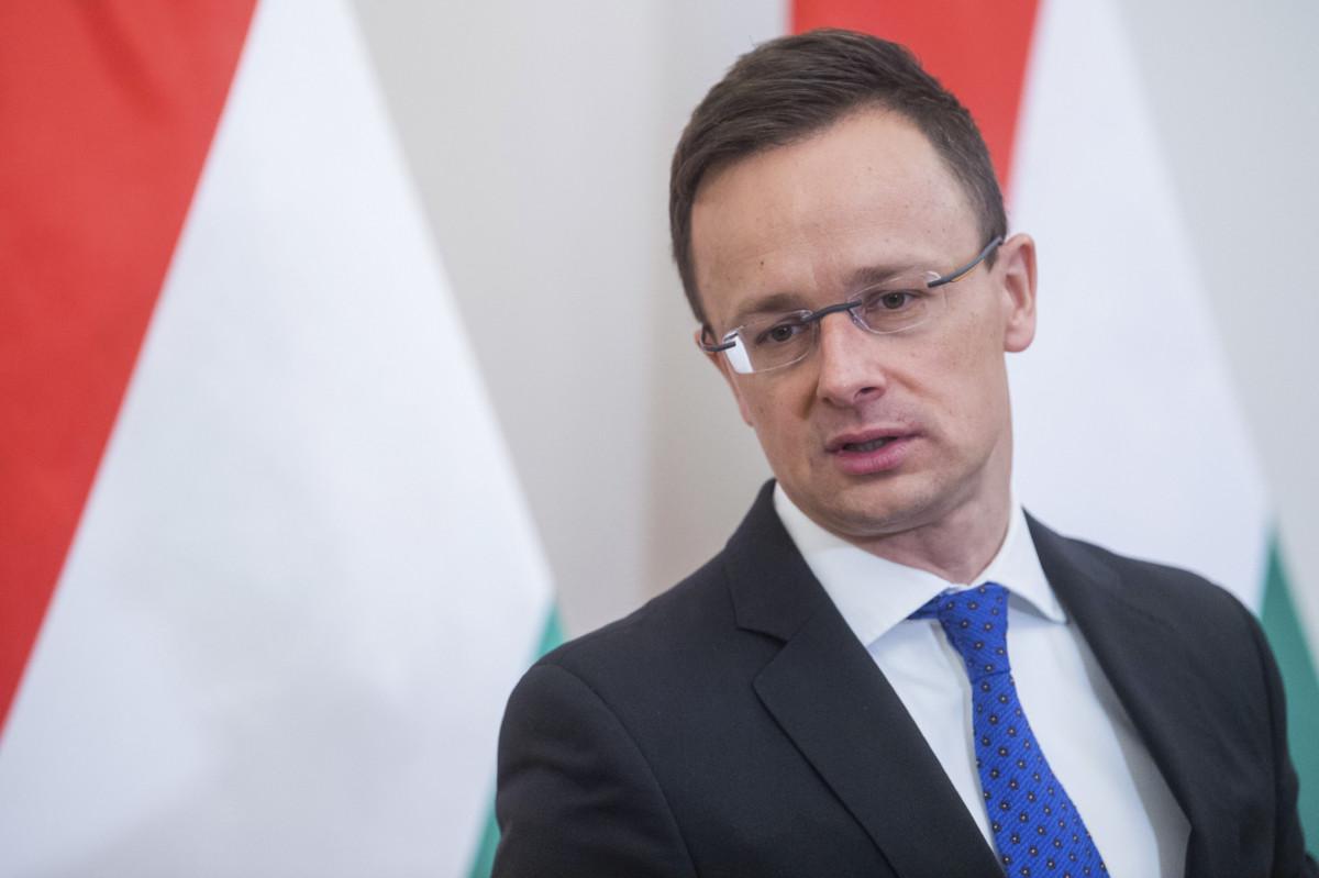 Szijjártó Péter külgazdasági és külügyminiszter a Carmelo Abela máltai külügyminiszterrel közösen tartott sajtótájékoztatón a Külgazdasági és Külügyminisztériumban 2019. február 27-én.