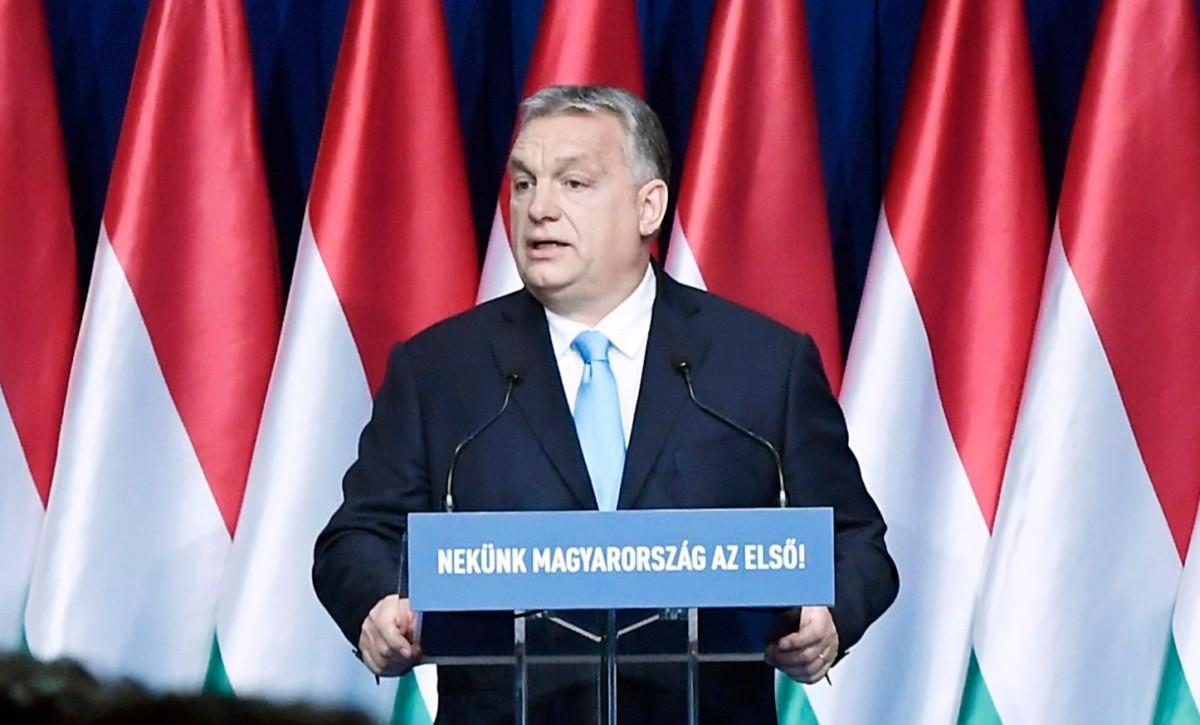 Orbán Viktor miniszterelnök hagyományos évértékelő beszédét tartja a Várkert Bazárban 2019. február 10-én.