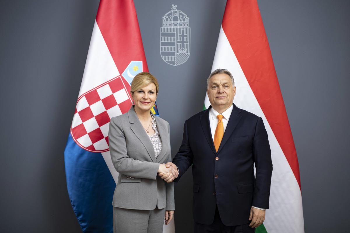 Orbán Viktor miniszterelnök a Karmelita kolostorban fogadta Kolinda Grabar-Kitarovicot, Horvátország köztársasági elnökét 2019. március 23-án.