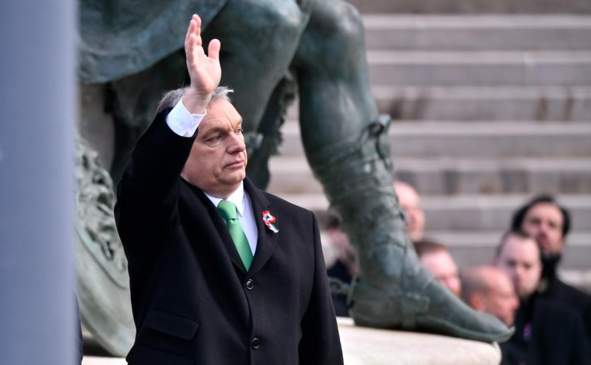 Orbán Viktor miniszterelnök az 1848/49-es forradalom és szabadságharc emléknapja alkalmából tartott állami ünnepségen a Múzeumkertben 2019. március 15-én.