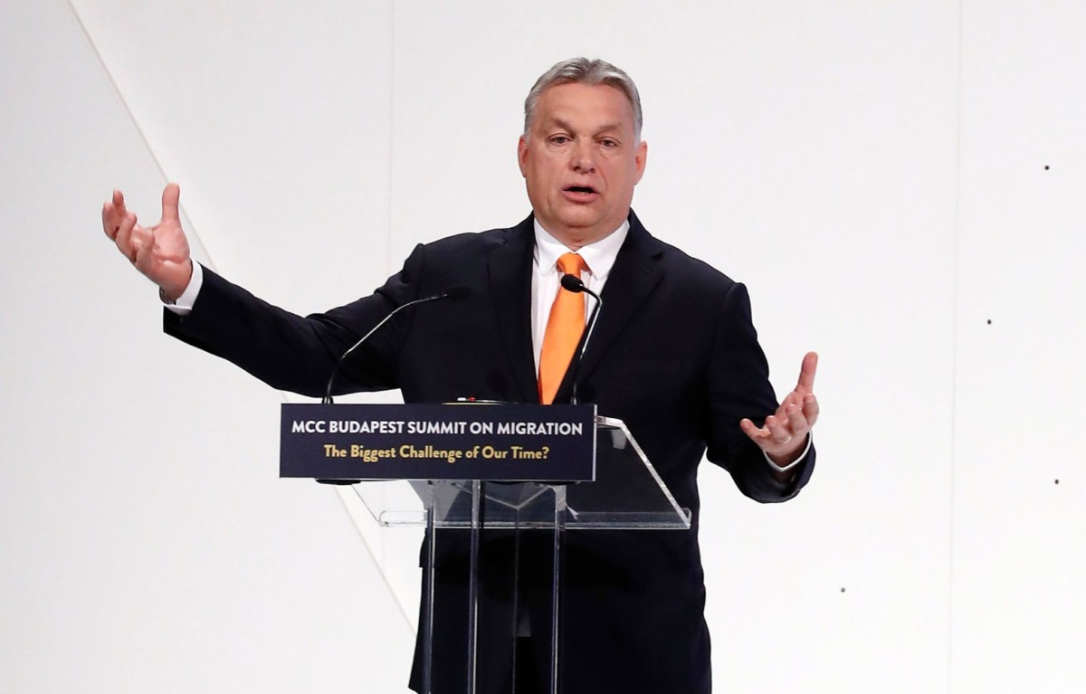 Orbán Viktor miniszterelnök beszél a Mathias Corvinus Collegium (MCC) háromnapos migrációs konferenciáján Budapesten, a Várkert Bazárban 2019. március 23-án.
