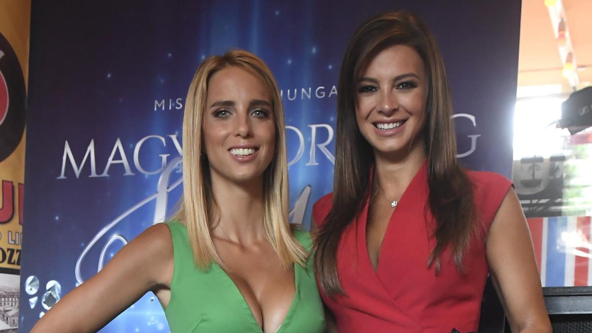 Rogán Cecília (b) és Sarka Kata licenctulajdonosok a 2018-as Magyarország Szépe - Miss World Hungary szépségverseny sajtótájékoztatóján a budapesti Fröccs Terasz vendéglátóhelyen 2018. június 13-án.