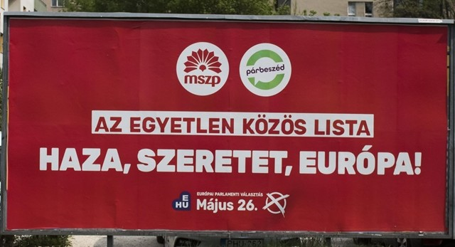 Az MSZP óriásplakátja a 2019 májusi EP-választásokra.