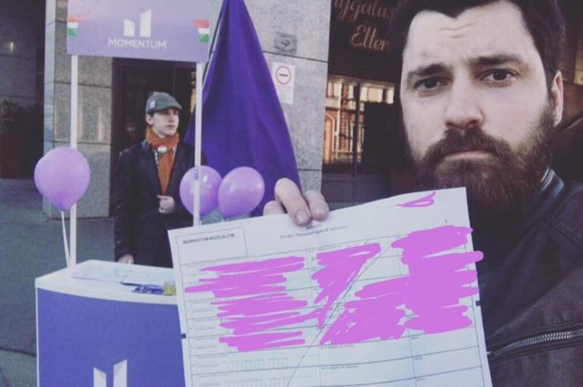 Tönkretette a Momentum aláírásgyűjtő íveit egy idős ember Pécsen