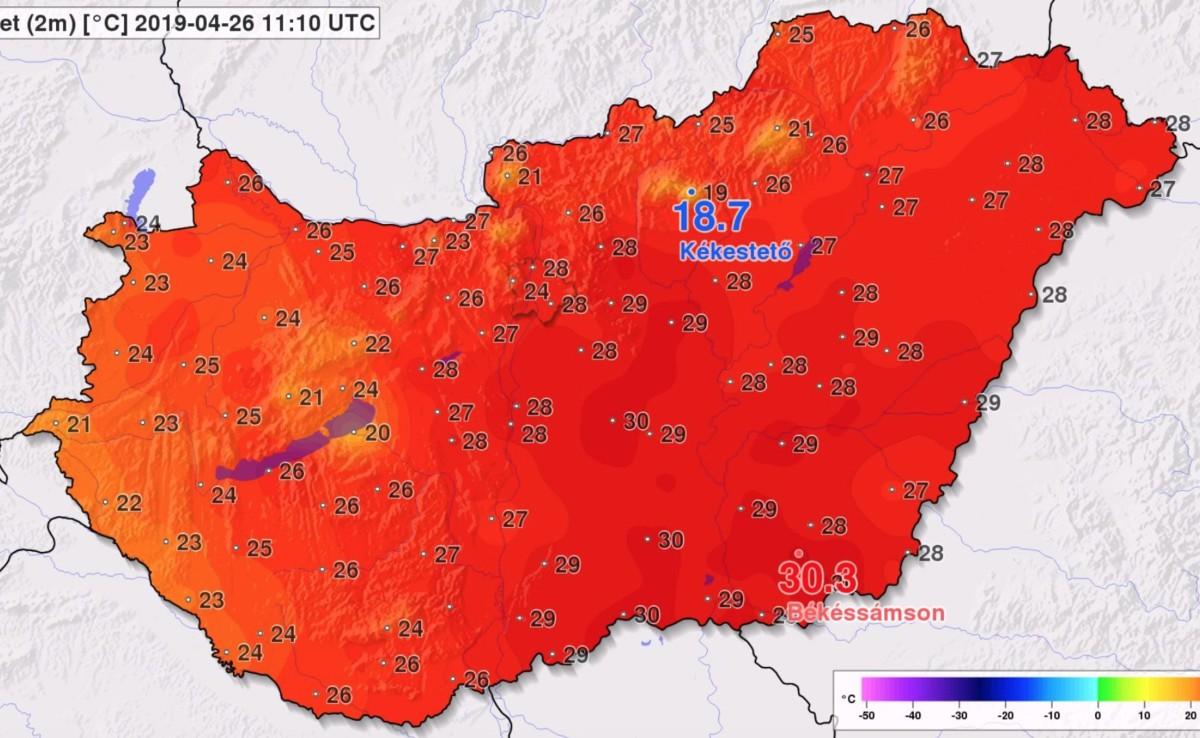 30,3 fokot mértek nem sokkal ezelőtt egy magyar településen