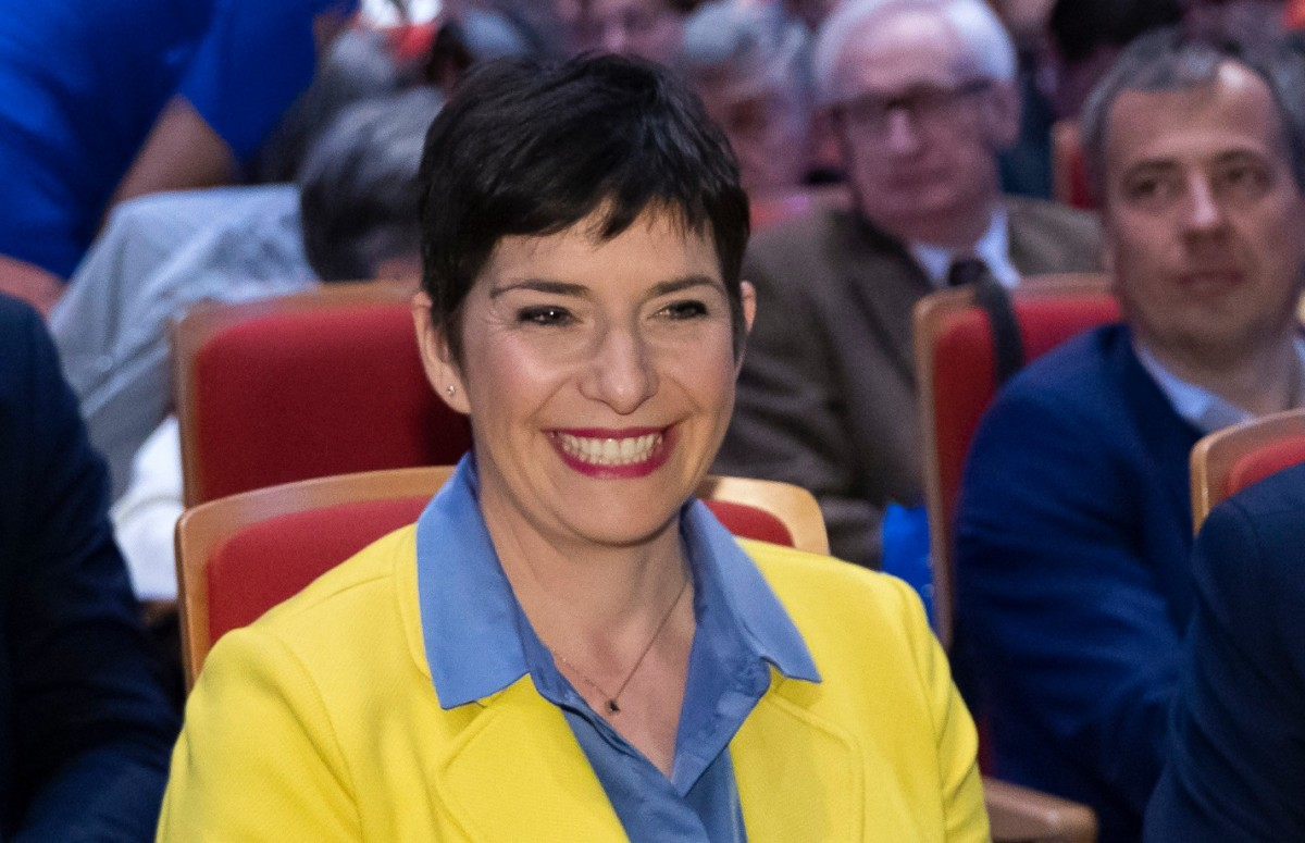 Dobrev Klára, a Demokratikus Koalíció EP-listavezetője, Gyurcsány Ferenc felesége a DK európai parlamenti kampánynyitó rendezvényén a Budapest Kongresszusi Központban 2019. április 14-én.