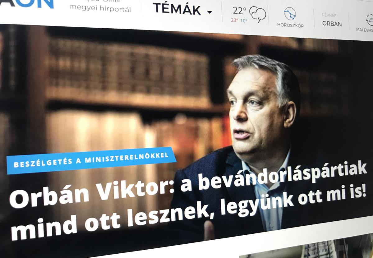 Ugyanaz az Orbán-interjú virít a kormánypárti megyei lapok címoldalán