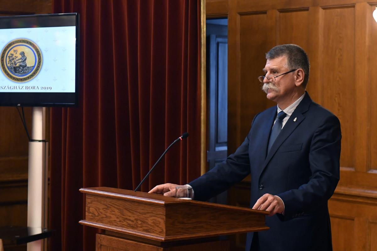 Kövér László, az Országgyűlés elnöke beszédet mond az Országház Bora pályázat eredményhirdetésén az Országház Vadásztermében 2019. június 14-én.