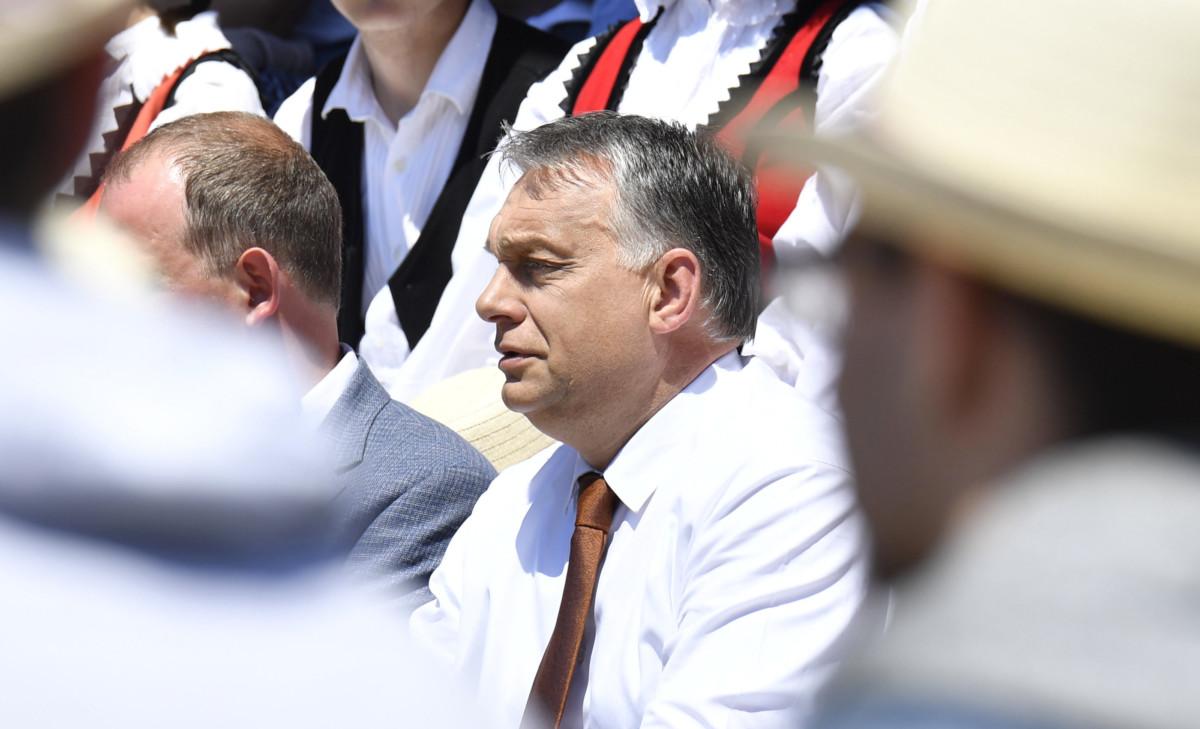 Orbán Viktor miniszterelnök (k) a nemzeti összetartozás napján tartott ünnepségen Sátoraljaújhelyen, Rákóczi Tábor és Rendezvényközpontban 2019. június 4-én.