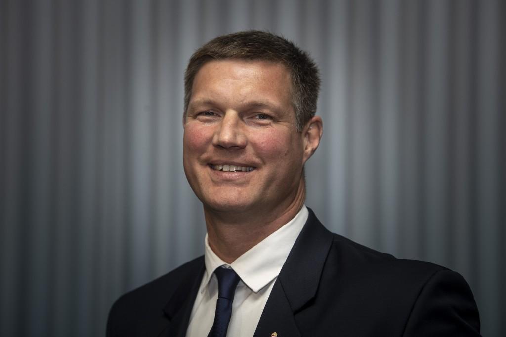 Vári Attila, a Magyar Vízilabda Szövetség újonnan megválasztott elnöke a szervezet tisztújító közgyűlésén a Duna Arénában 2018. szeptember 30-án.
