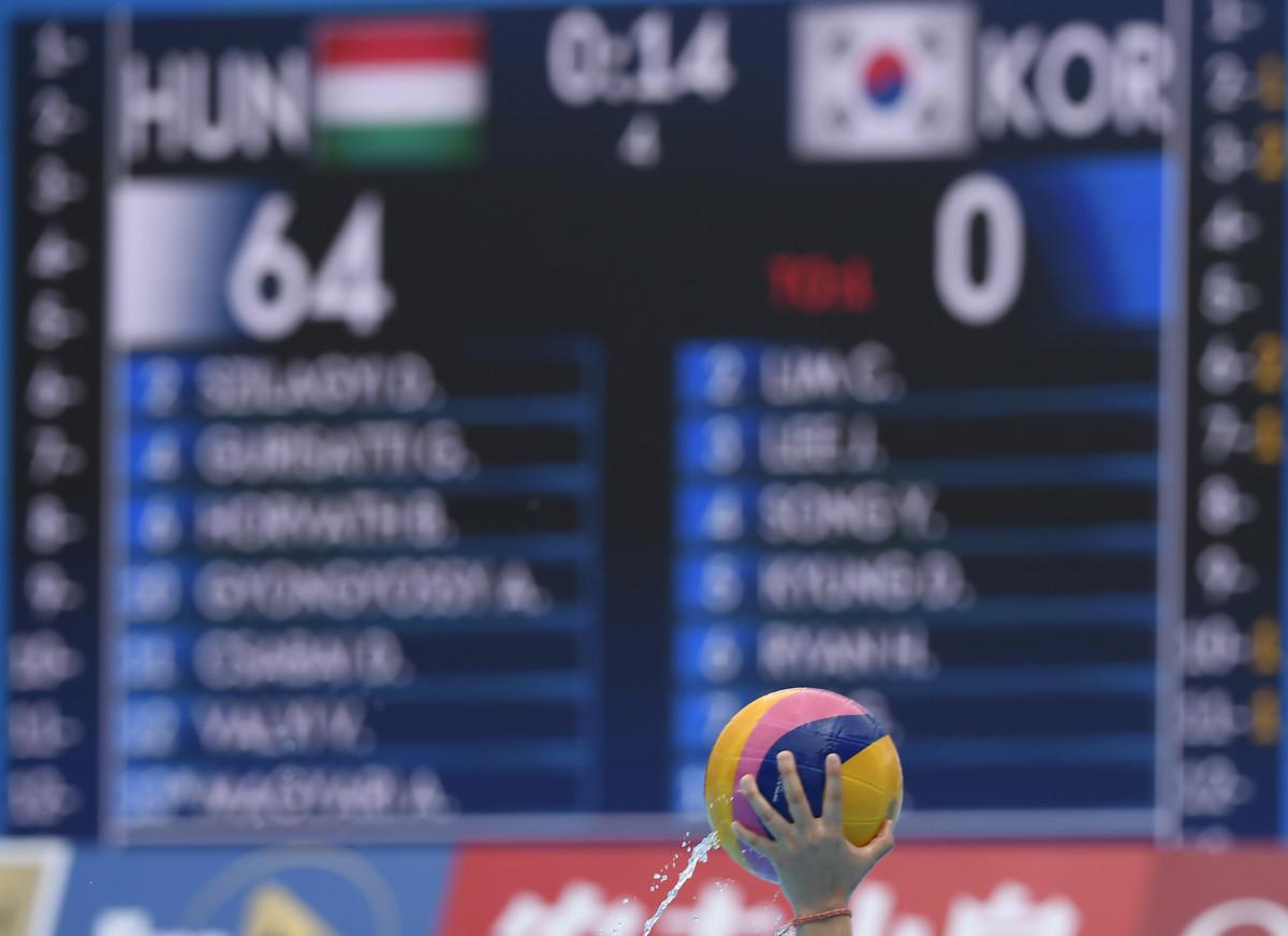 Világrekordot jelentő eredmény a kijelzőn a női vízilabda selejtezőkörének B csoportjában játszott Magyarország - Dél-Korea mérkőzésen a 18. vizes világbajnokságon a dél-koreai Kvangdzsuban 2019. július 14-én.