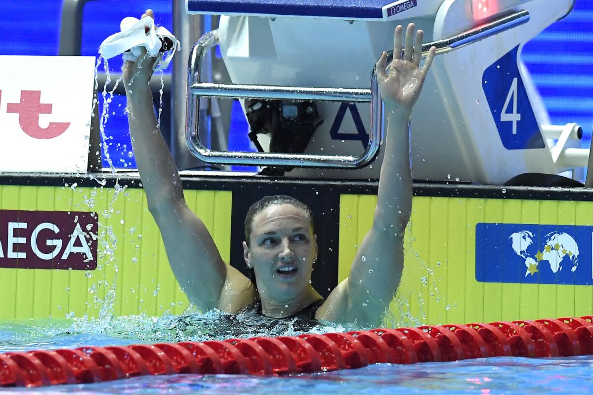 A győztes Hosszú Katinka a női 200 méteres vegyesúszás döntője után a 18. vizes világbajnokságon a dél-koreai Kvangdzsuban 2019. július 22-én.