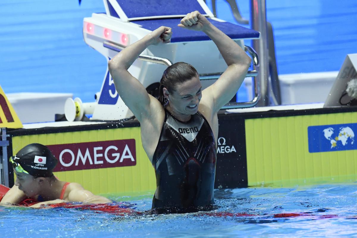 A győztes Hosszú Katinka a női 400 méteres vegyesúszás döntője után a 18. vizes világbajnokságon a dél-koreai Kvangdzsuban 2019. július 28-án.