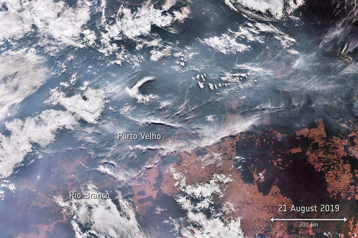 Erdőtüzek Brazíliában a Copernicus program Sentinel-3 műholdpárosának képén.