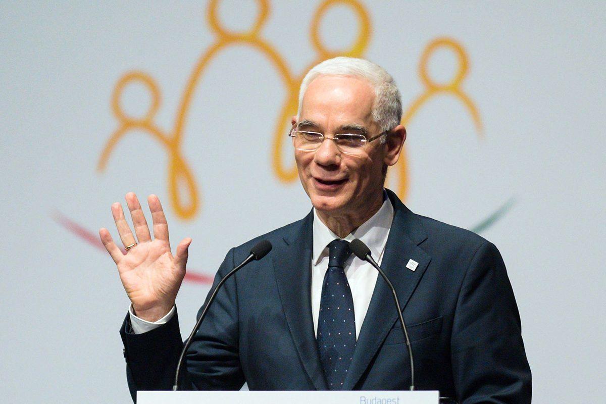 Balog Zoltán, az emberi erőforrások akkori minisztere beszédet mond a Családok budapesti világtalálkozójának első napján megrendezett demográfiai fórumon a Budapest Kongresszusi Központban 2017. május 25-én.
