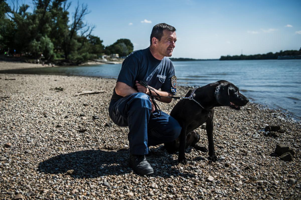 Szávity József zászlós, a BRFK bűnügyi technikai osztályának kutyavezetője Adél nevű kutyájával a dunakeszi Duna-parton 2019. július 3-án.