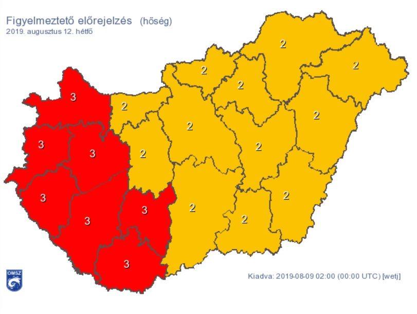 Figyelmeztetés a hőség miatt augusztus 12-én.