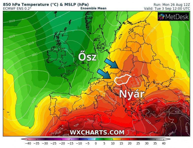 850 hPa nyomási szintre (kb. 1500 méter magasra) várható hőmérsékleti eloszlás szeptember 3-án, szerdán kora délután az európai ECMWF valószínűségi előrejelzések átlagában.