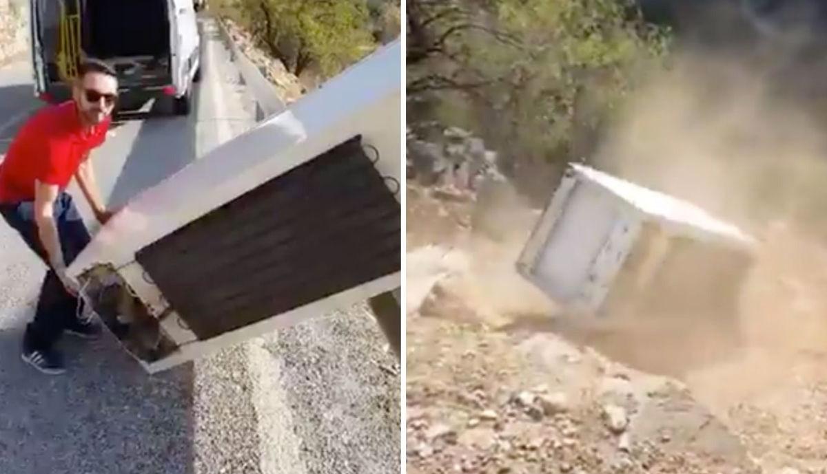 Két férfi kidobott egy hűtőszekrényt az út szélén, pontosan az történt, amire vártál