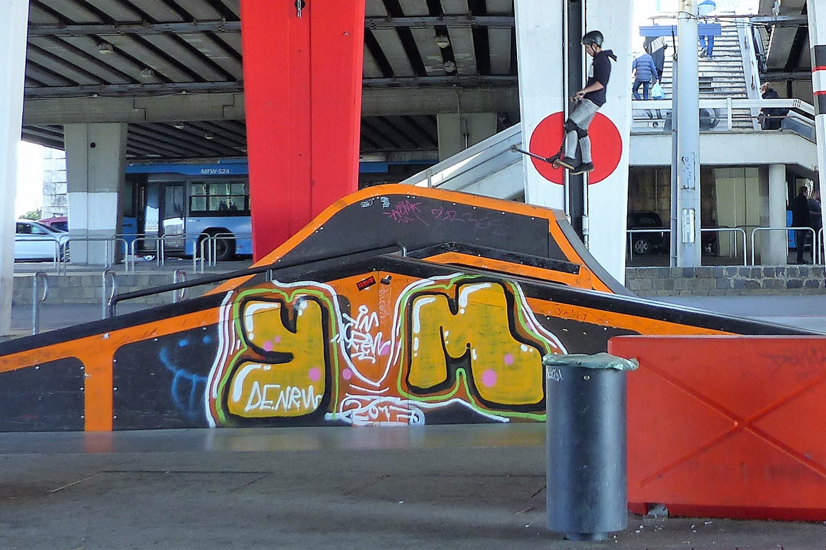 A Boráros téri skatepark.