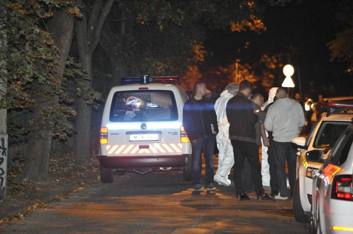 Rendőrök és bűnügyi helyszínelők a III. kerületi Ladik utcában, ahol egy nő holttestét találták meg 2019. szeptember 28-án. A nő feltehetően bűncselekmény áldozata lett.