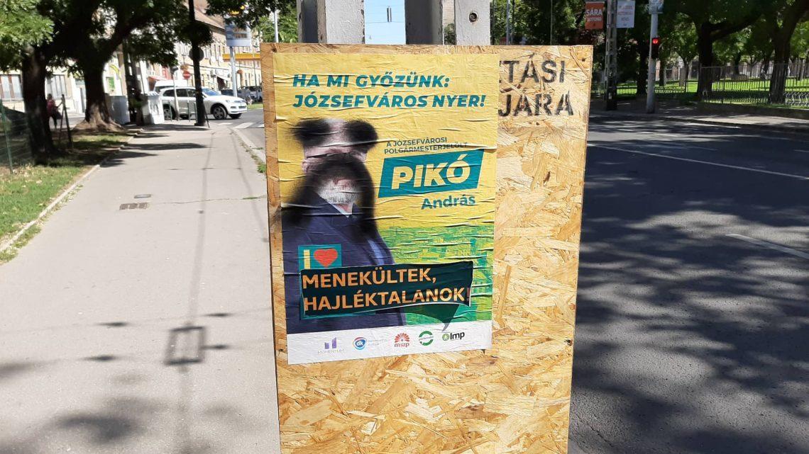 Hajléktalanok és menekültek ellen uszító feliratokkal ragasztották le a VIII. kerületi ellenzéki polgármesterjelölt plakátjait