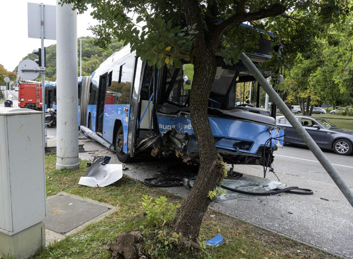 Ütközésben összeroncsolódott busz az I. kerületi Szarvas térnél, az Attila út és Apród utca kereszteződésében 2019. szeptember 27-én. Az 5-ös busz személyautóval ütközött, a balesetben négyen megsérültek.