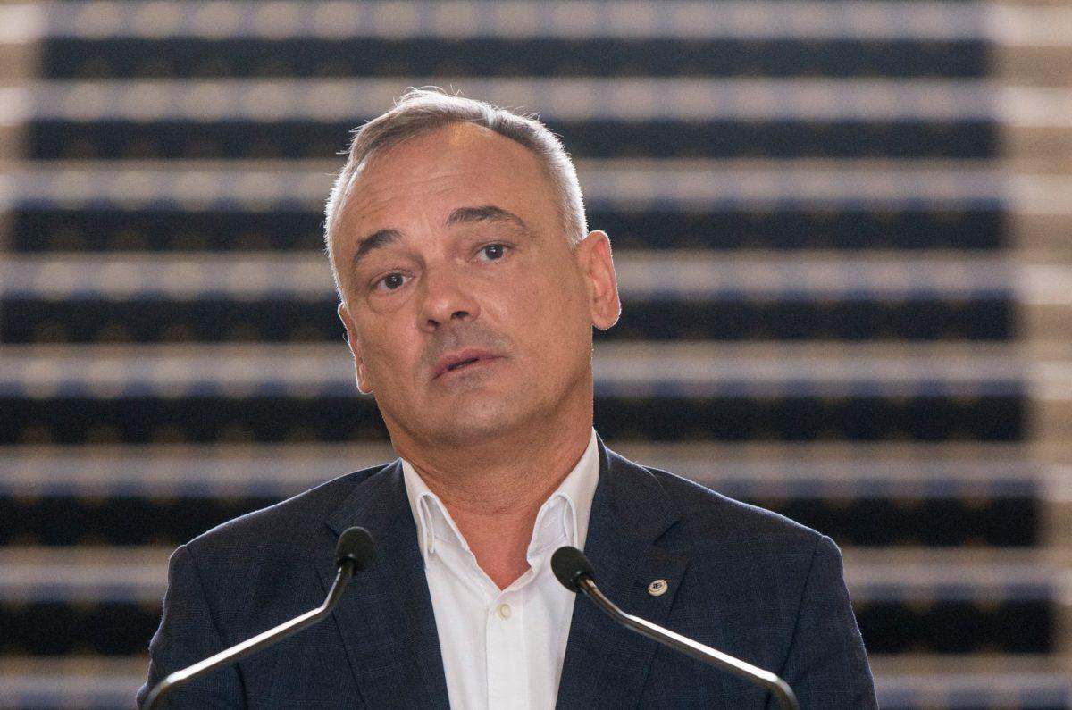 Borkai Zsolt, Győr újraválasztott polgármestere a győri városházán tartott sajtótájékoztatóján 2019. október 15-én.