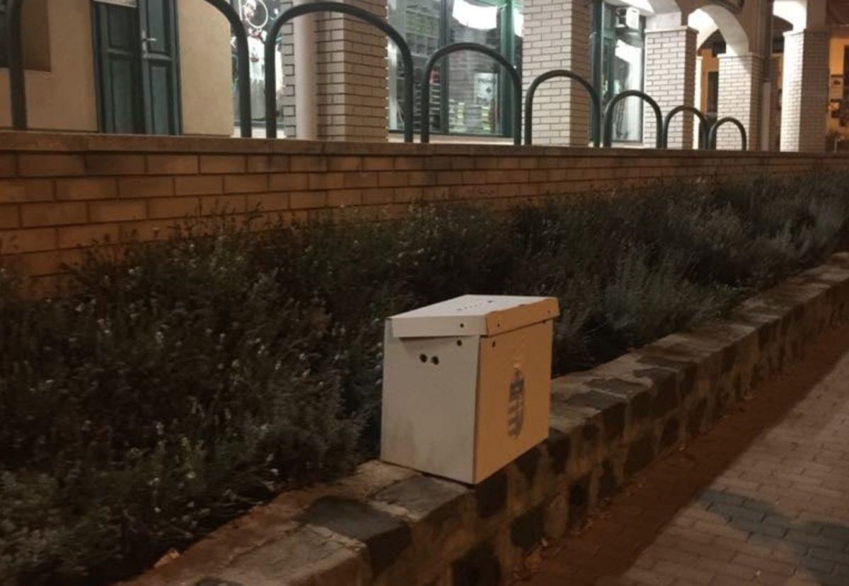 Az elárvult szavazóurna Budakeszi utcáján.