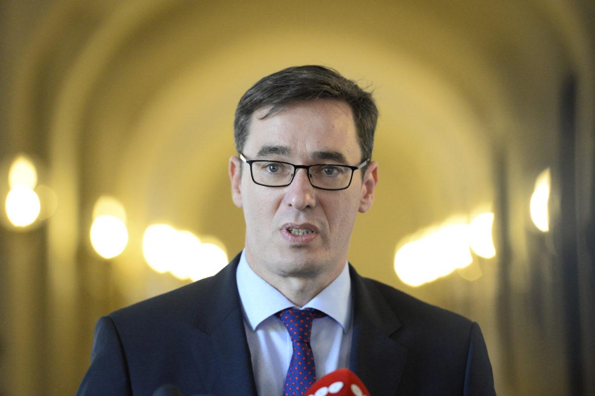 Karácsony Gergely megválasztott főpolgármester sajtótájékoztatót tart, miután átvette hivatalát elődjétől, Tarlós Istvántól a Városházán 2019. október 17-én.