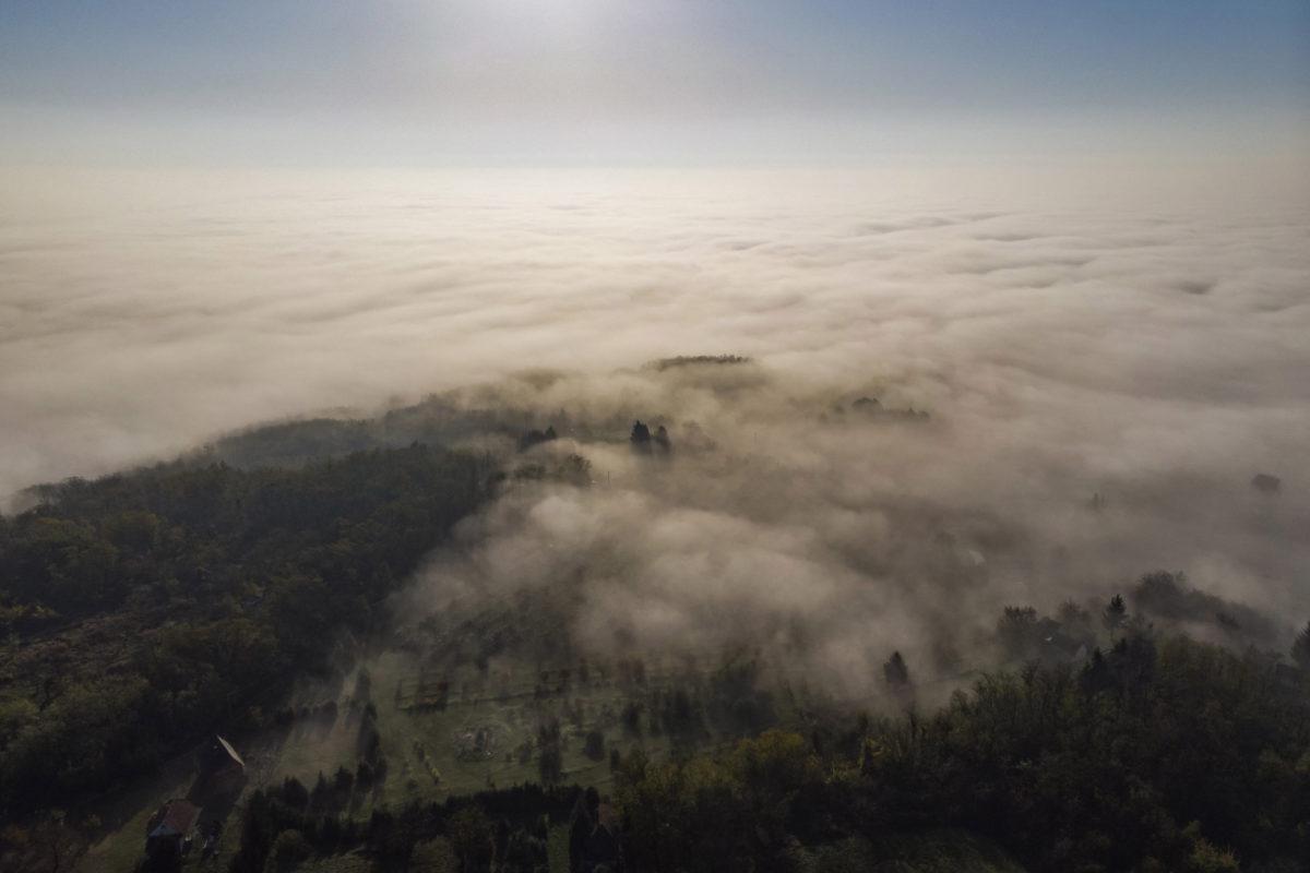 Köd a Zala megyei Becsehely közelében 2019. október 27-én.