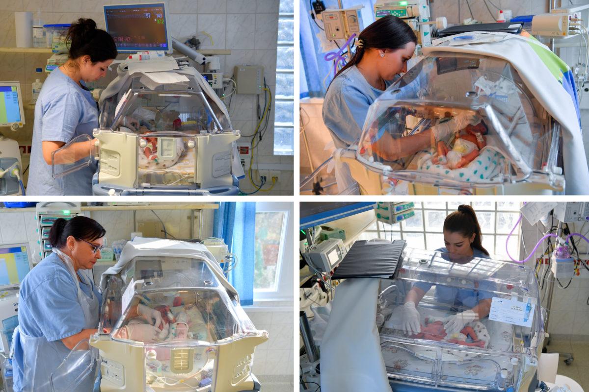 Nagy Anna (b, fent), Nagy Panna (j, fent), Nagy Anita (b, lent) és Nagy Richárd (j, lent) négyes ikrek a Debreceni Egyetem Szülészeti és Nőgyógyászati Klinikáján 2019. október 28-án.