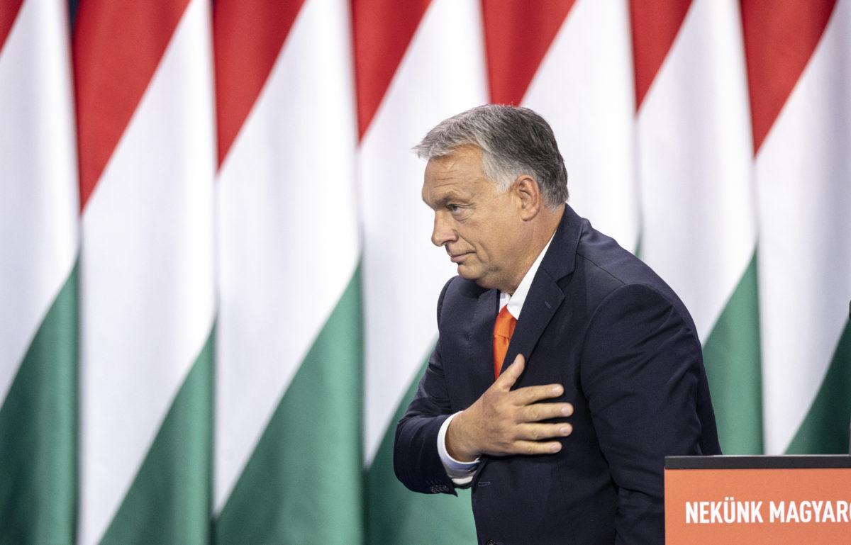 Orbán Viktor miniszterelnök, a párt újraválasztott elnöke a Fidesz tisztújító kongresszusán a BOK Sportcsarnokban, Budapesten 2019. szeptember 29-én.