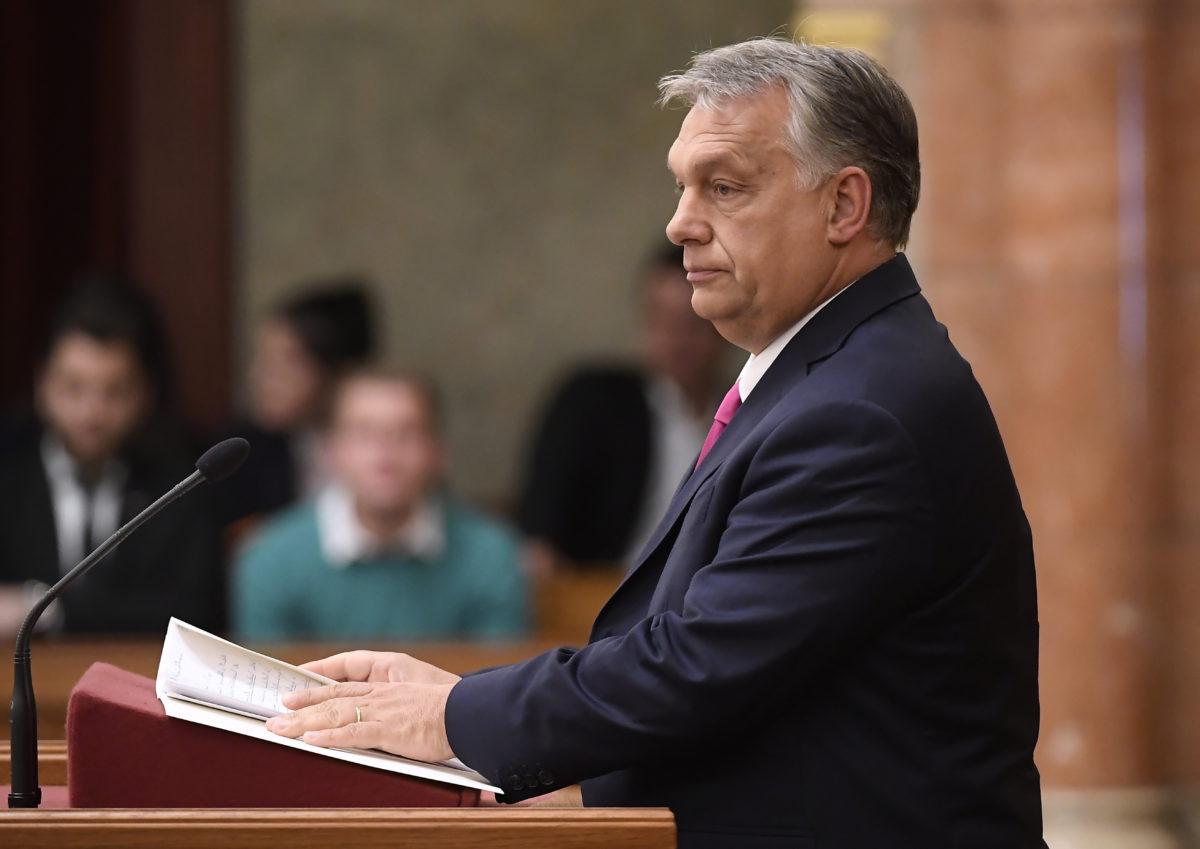 Orbán Viktor miniszterelnök napirend előtt szólal fel az Országgyűlés plenáris ülésén 2019. október 21-én.
