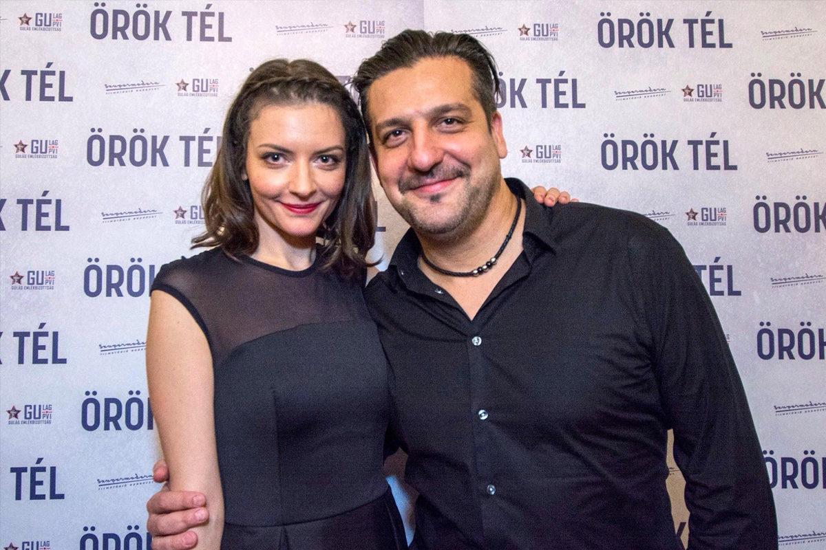 Gera Marina és Csányi Sándor az Örök tél premier előtti díszbemutatójára az Uránia Filmszínházban 2018. január 30-án.