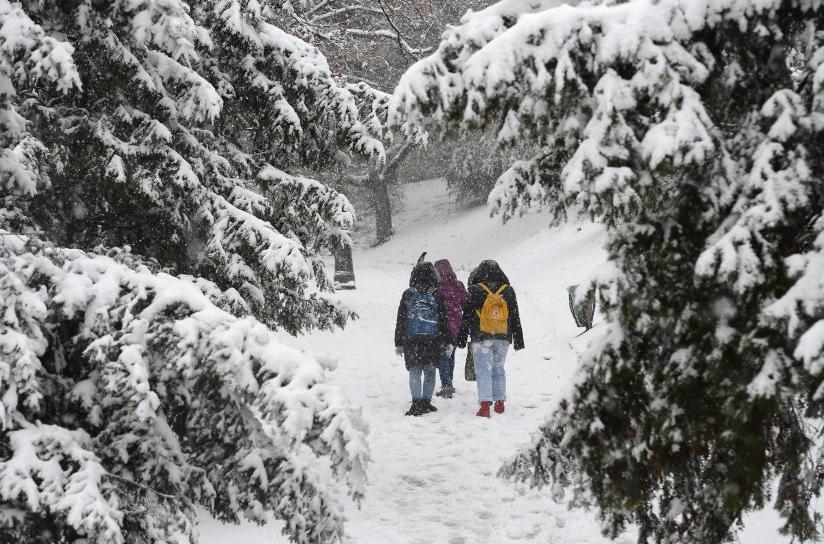 Turisták a behavazott Gellért-hegyen, Budapesten 2019. december 2-án.