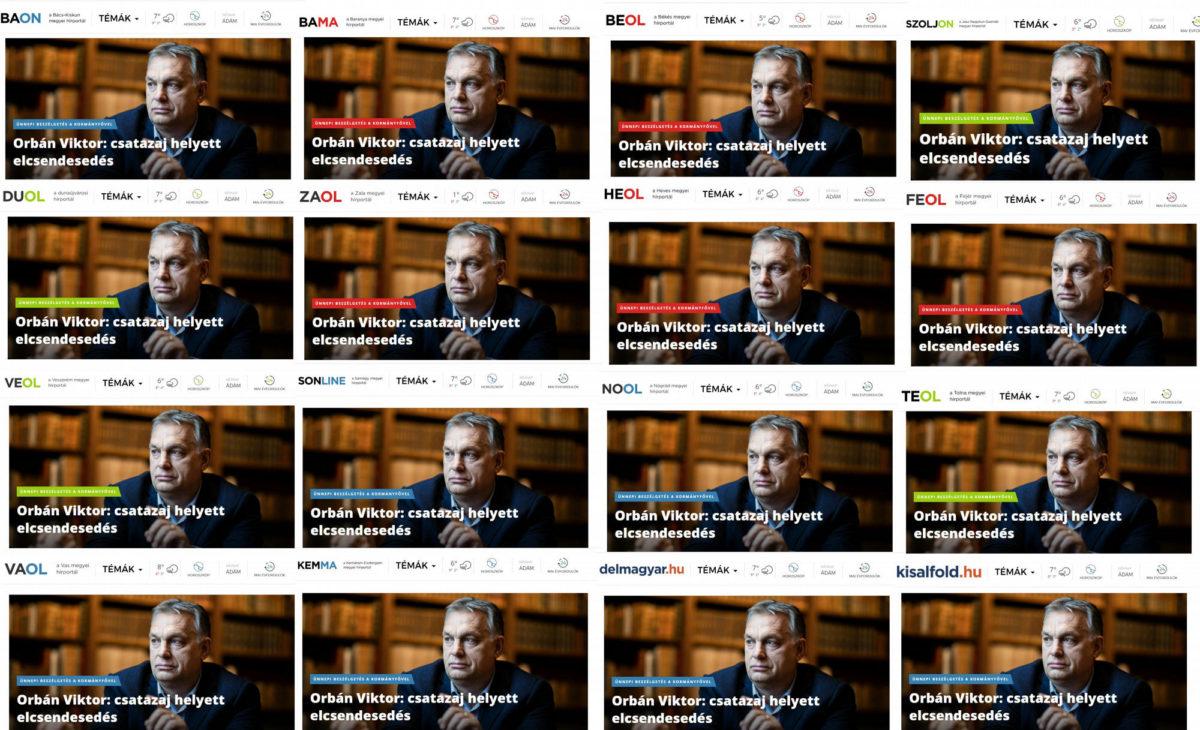 """Orbán Viktor """"interjúi"""" a kormányszócsővé tett vidéki laphálózat internetes oldalain."""