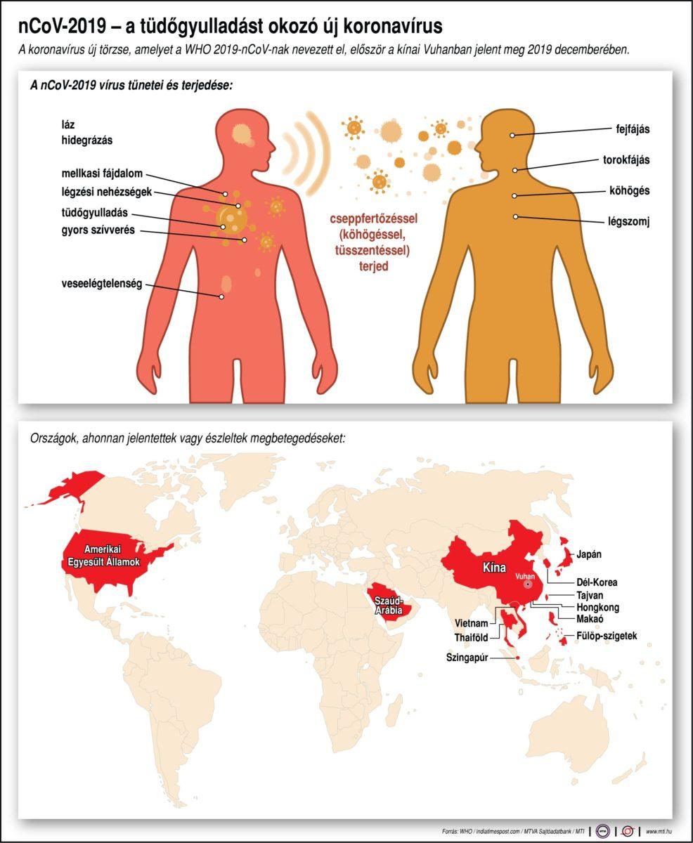 A koronavírus új törzse, amelyet a WHO 2019-nCoV-nak nevezett el, először a kínai Vuhanban jelent meg 2019 decemberében. Országok, ahonnan jelentettek vagy észleltek megbetegedéseket.