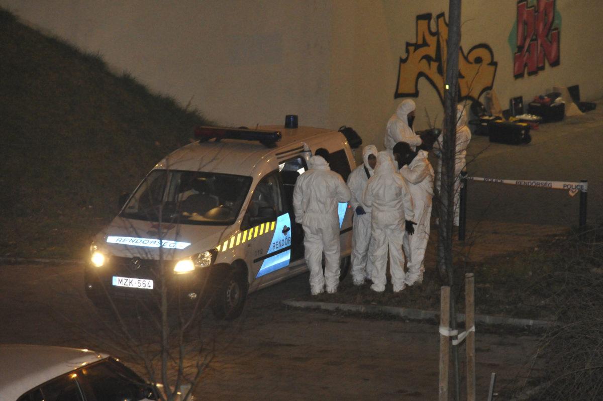 Bűnügyi helyszínelők Budapesten, a XIII. kerületi Népfürdő utcában, ahol egy irodaház előtt női holttestet találtak 2019. január 14-én.