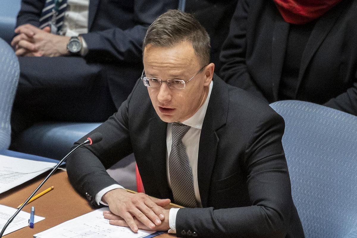 Szijjártó Péter külgazdasági és külügyminiszter felszólal az ENSZ fennállásának 75. évfordulója alkalmából, a vietnámi BT-elnökség által megrendezett nyílt vitán az ENSZ New York-i székházában 2020. január 9-én.
